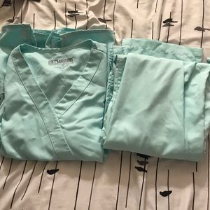 Grey's Anatomy light blue scrub top and bottoms